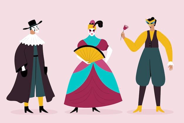 Collection de personnages de carnaval vénitien dessinés à la main