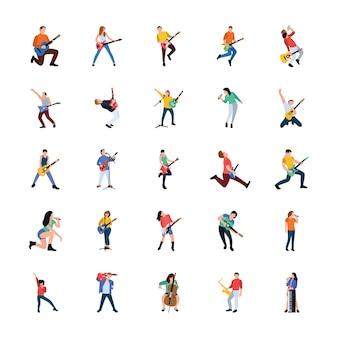 Collection de personnages chanteurs et musiciens