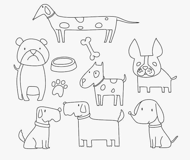 Collection de personnages chat mignon avec style cartoon doodle