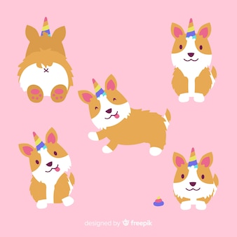 Collection de personnages de chiots kawaii