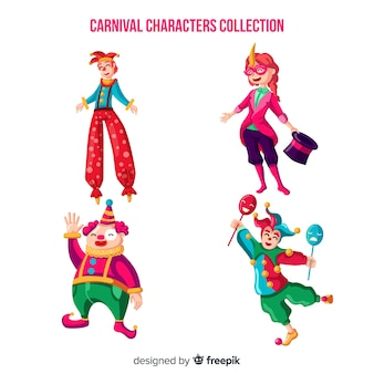 Collection de personnages de cirque carnival