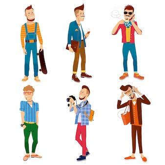Collection de personnages colorés de hipster