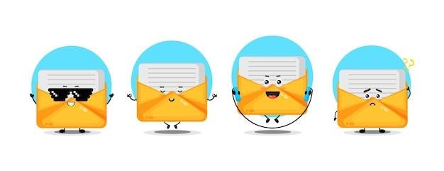 Collection de personnages de courrier mignon