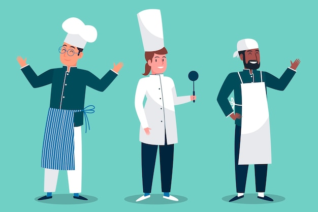 Collection de personnages de cuisinier