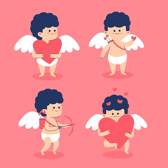 Collection de personnages de cupidon design plat