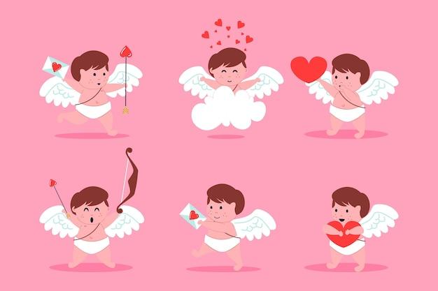 Collection de personnages cupidon design plat