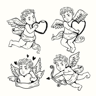 Collection de personnages de cupidon dessinés à la main
