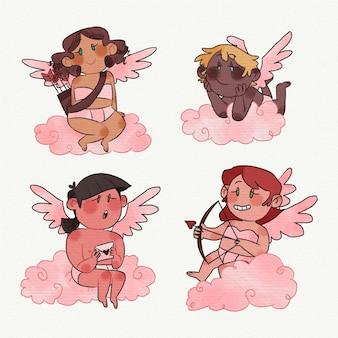 Collection de personnages de cupidon dessinés à la main