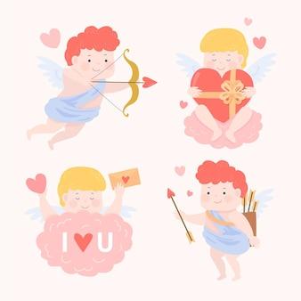Collection de personnages cupidon dessinés à la main
