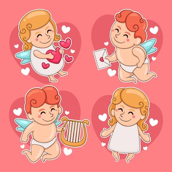 Collection de personnages de cupidon mignon