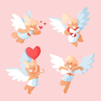 Collection de personnages de cupidon plat
