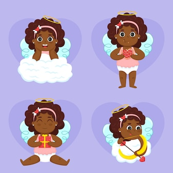Collection de personnages de cupidon plats