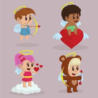 Collection de personnages de cupidon plats