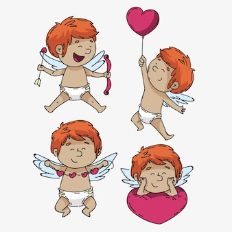 Collection de personnages cupidon pour la saint-valentin