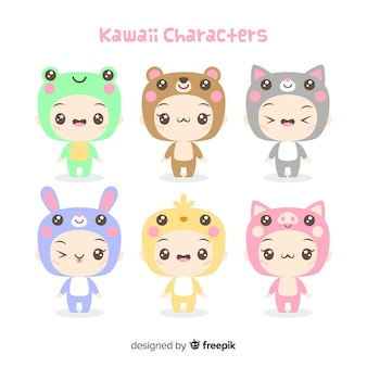 Collection de personnages déguisés kawaii dessinés à la main