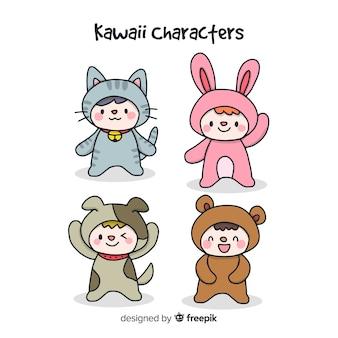 Collection de personnages déguisés kawaii dessinés à la main