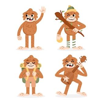 Collection de personnages de dessin animé bigfoot sasquatch