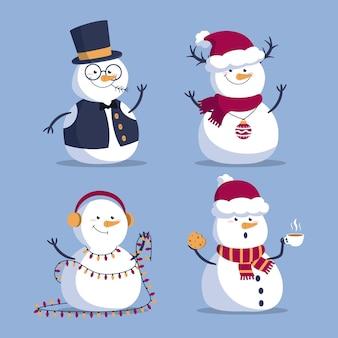 Collection de personnages de dessin animé de bonhomme de neige