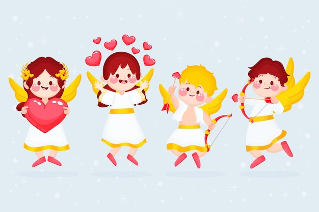 Collection de personnages de dessin animé cupidon