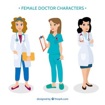 Collection de personnages de dessin animé de médecin féminin