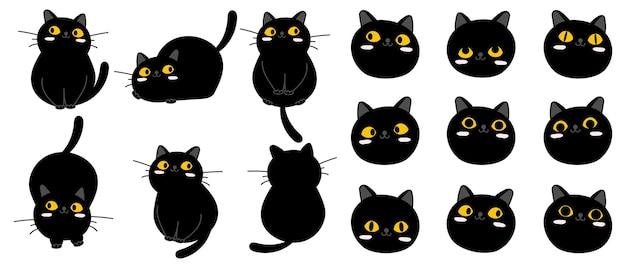 Collection de personnages de dessin animé mignon chat noir.