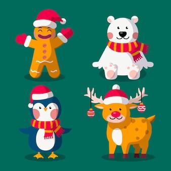 Collection de personnages de dessin animé de noël