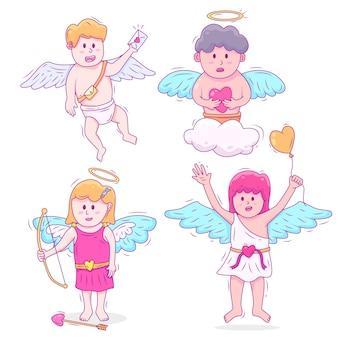 Collection de personnages dessinés à la main avec cupidon