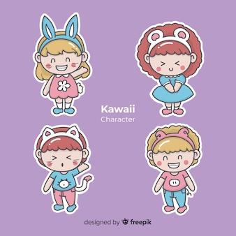 Collection de personnages dessinés à la main kawaii