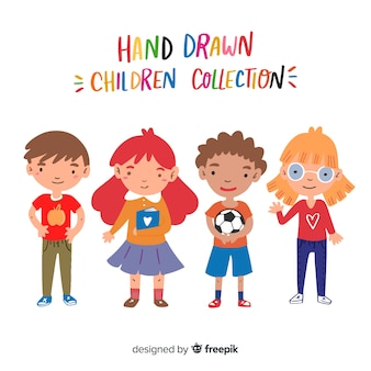 Collection de personnages dessinés à la main pour enfants