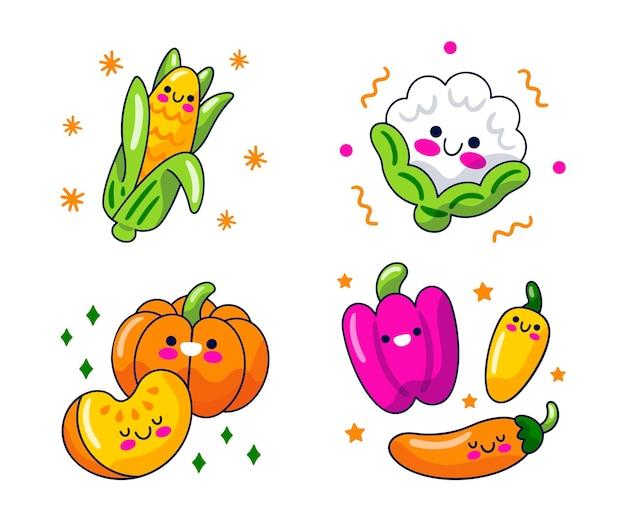 Collection de personnages de dessins animés alimentaires
