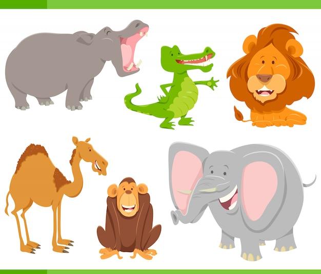 Collection de personnages de dessins animés d'animaux sauvages