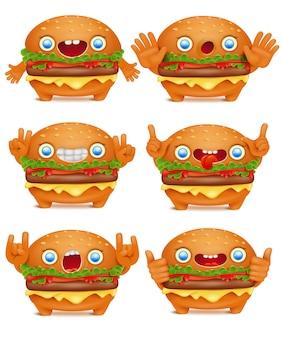 Collection de personnages de dessins animés burger émoticône
