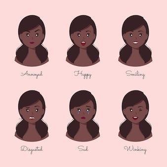 Collection de personnages de dessins animés de différentes émotions de femme afro-américaine