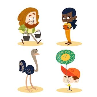 Collection de personnages de dessins animés rétro dessinés à la main avec différentes activités