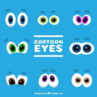Collection de personnages de dessins animés yeux