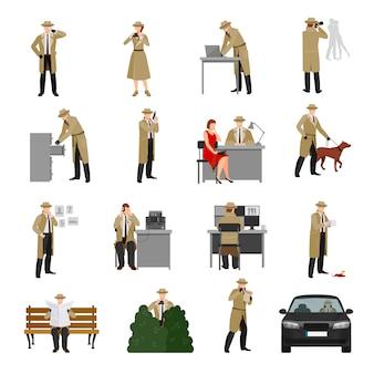 Collection de personnages de détective