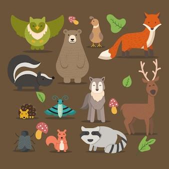 Collection de personnages drôles d'animaux des bois