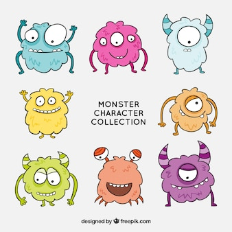 Collection de personnages drôles de monstres