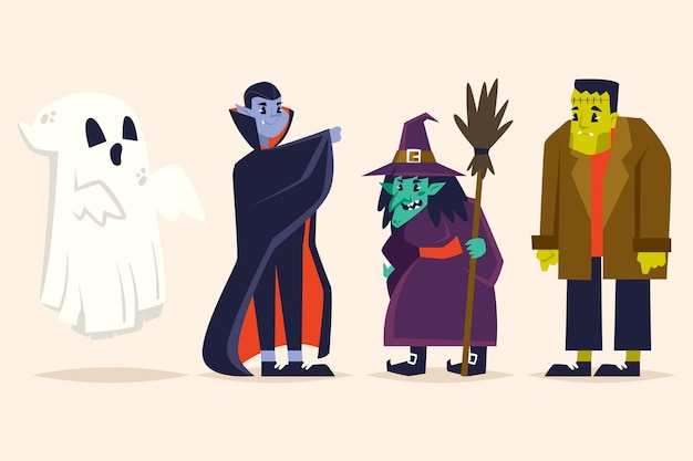 Collection de personnages du festival d'halloween