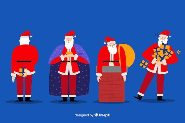 Collection de personnages du père noël au design plat