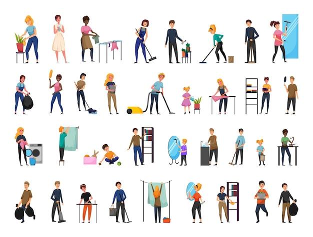 Collection de personnages effectuant divers services ménagers.