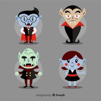 Collection de personnages d'enfant vampire plat