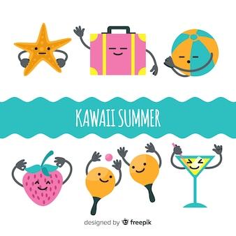 Collection de personnages d'été kawaii dessinés à la main