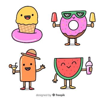 Collection de personnages d'été kawaii