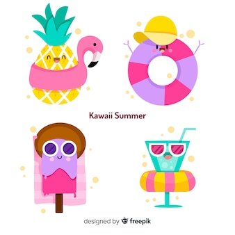 Collection de personnages d'été kawaii