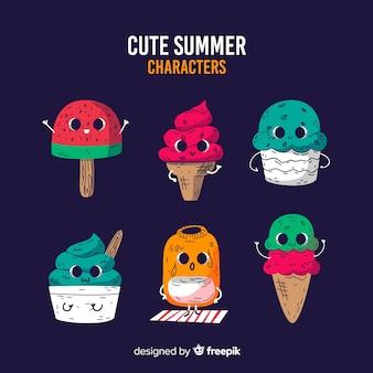 Collection de personnages d'été style kawaii