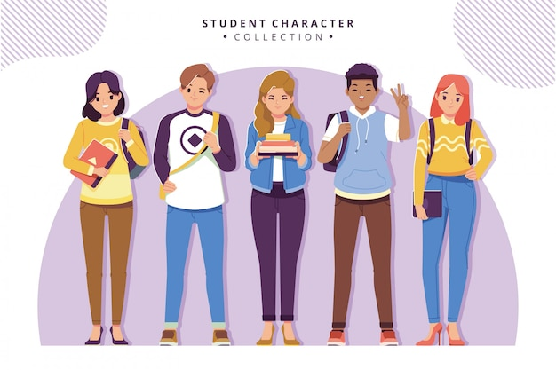 Collection de personnages étudiants