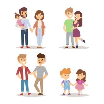 Collection de personnages familiaux isolé sur blanc