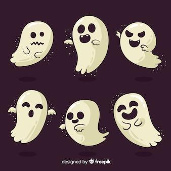 Collection de personnages fantômes d'halloween avec un design plat