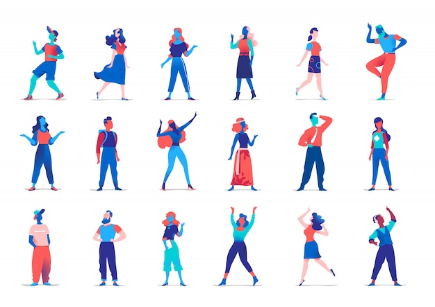 Collection de personnages féminins et masculins dans des poses différentes isolés sur mur blanc